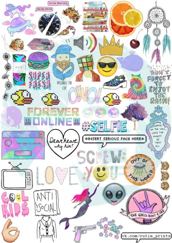 Set 44 Tumblr Stickers Stickers Set Of Stickers Decals Etsy