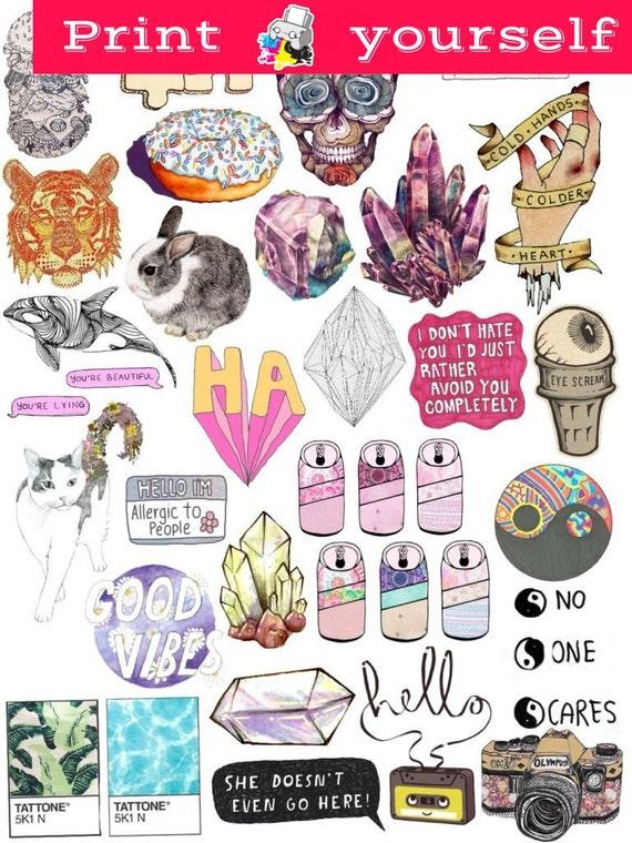 Set 39 Mockup Printable Tumblr Stickers Of