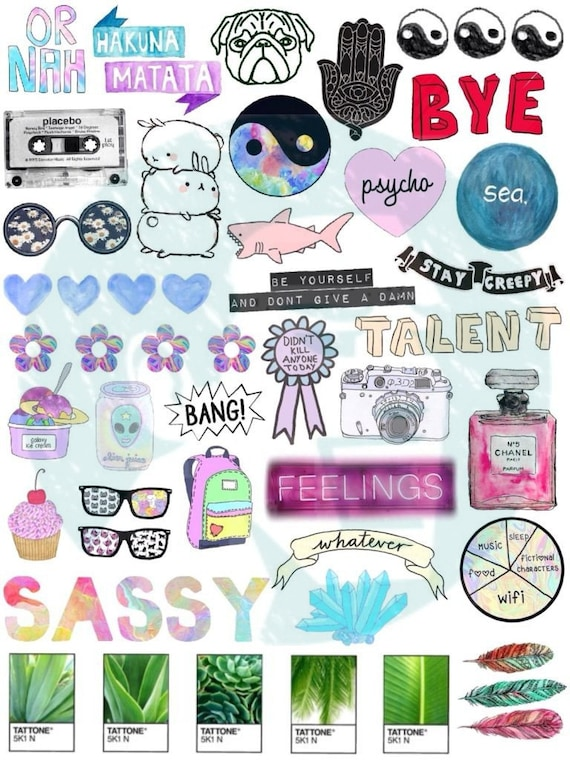 Set 3 tumblr stickers stickers set of stickers decals etsy - Stickers mobili ...