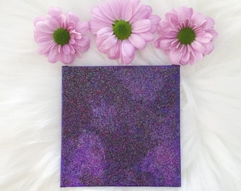 """Little Original Abstract Painting Glitter Painting Unicorn Painting Glitter Paint Art 4x4"""" Acrylic Painting on Mini Canvas Small Canvas"""