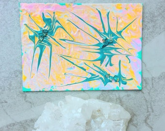 """Little Original Abstract Painting with Clear Quartz Crystal Healing Crystals Spiritual Art 5x7"""" Acrylic Painting on Mini Canvas Small Canvas"""