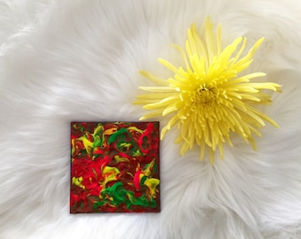 """Little Original Abstract Painting Rainbow Painting Fluro Painting Colorful Painting Art 4x4"""" Acrylic Painting on Mini Canvas Small Canvas"""