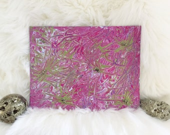 """Little Original Abstract Painting with Pirite Crystals Healing Crystals Spiritual Art 8x10"""" Acrylic Painting on Mini Canvas Small Canvas"""