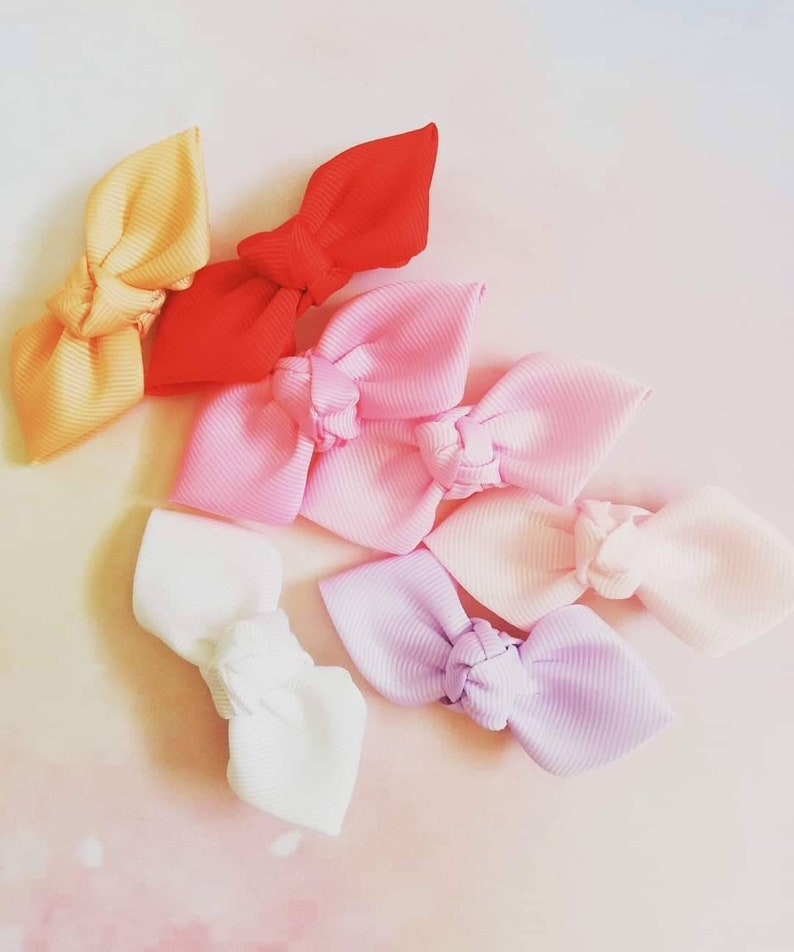 Pair or set of Small knotted bow with lined hair clip Baby size Toddler Bundles Cute Birthday party Toddler Girl