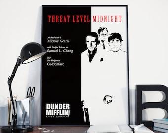 Threat Level Midnight - The Office Movie, Poster, Print, Wall Art, Decor, Scarn, Michael Scott, Dwight Schrute, Jim Halpert, Dunder Mifflin