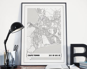 Cape Town Map Poster Print - Coordinates Travel Poster Print - Cape Town Map Wall Art - Travel Print - Travel Wall Art - Art Print - Prints
