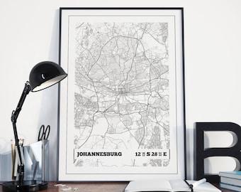 Johannesburg Map Poster Print - Coordinates Travel Poster Print - Johannesburg Map Wall Art - Travel Print - Travel Wall Art - Art Print