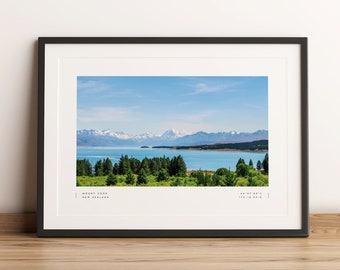 Mount Cook Print, Mount Cook Poster, Mount Cook Coordinates, Mount Cook Wall Art, Mount Cook Lake Pukaki, Mount Cook Travel, Home Decor