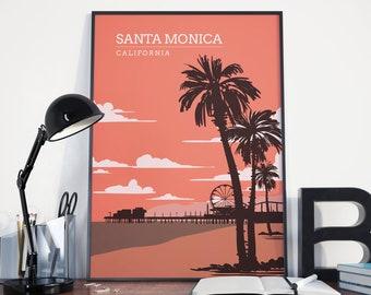 Santa Monica Pier Print, Santa Monica Pier Poster, Santa Monica Vintage Retro Print, Santa Monica Vintage Retro Poster, Santa Monica Art