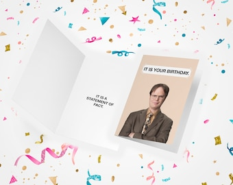 The Office Birthday Card and Dwight Schrute Business Card, Birthday Card, The Office Card, Office US,  It Is Your Birthday, Dunder Mifflin