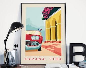 Havana Print, Havana Poster, Havana Vintage Retro Print, Havana Vintage Retro Poster, Havana Wall Art, Havana Travel, Travel Print, Cuba