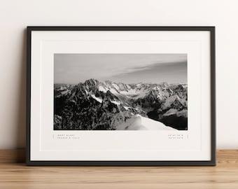 Mont Blanc Print, Mont Blanc Poster, Mont Blanc Coordinates, Mont Blanc Wall Art, Mont Blanc Black and White, Mont Blanc Travel, Home Decor