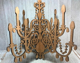 Cardboard chandelier etsy laser cut cardboard chandelier model 5 10 wide aloadofball Choice Image