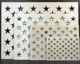 676b26158bb6 4 pack   USA Flag   50 star s stencil   wooden stencil   union stencil   0.5     0.75     1     1.25