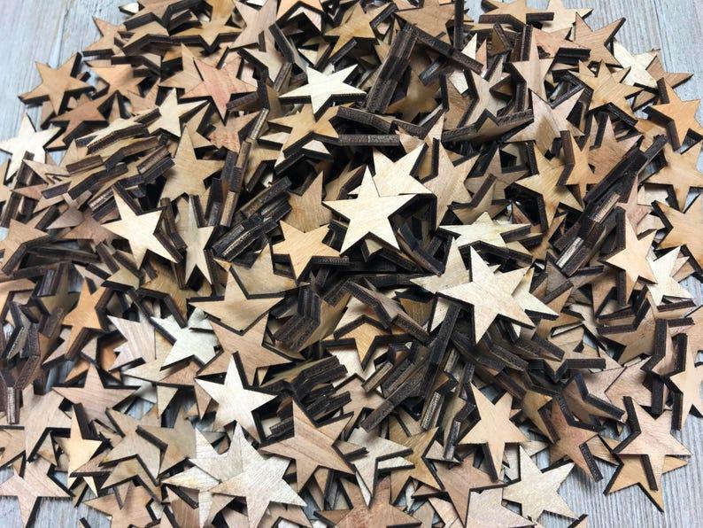 Bulk Laser-cut wooden stars crafting supplies wooden stars image 1