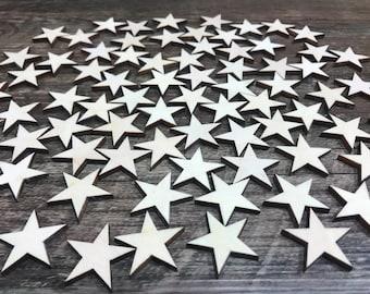 50 stars / Laser-cut wooden crafting supplies 0,5'' / 0,75'' / 1'' /1,25'' /1,5'' /1,75'' /2''