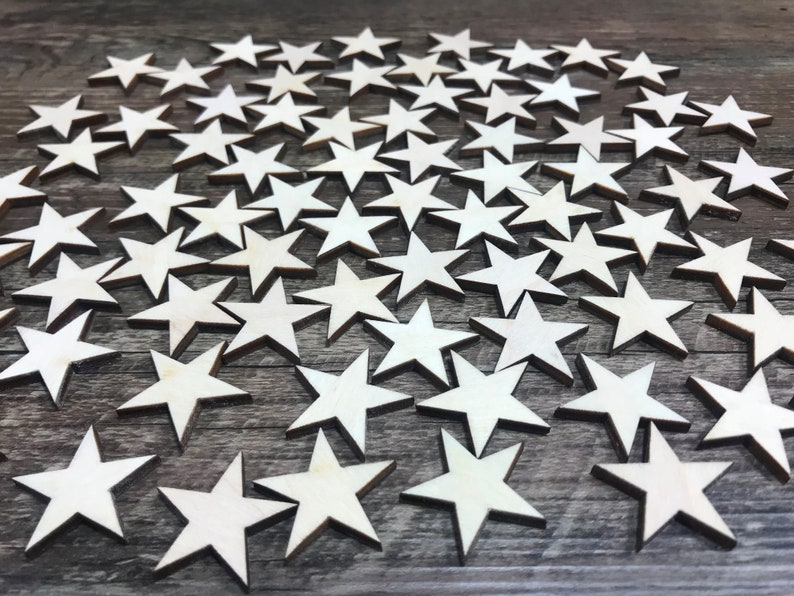 Laser-cut wooden stars crafting supplies wooden stars image 0