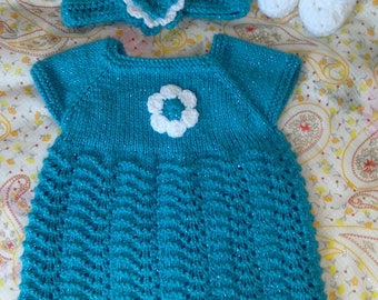 Hand Knitted Baby  Dress & Headband. Turquoise/White/Sparkle 3-6mth