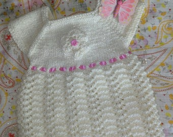 Hand Knitted Baby Dress & Headband. Ivory/Pink/Lurex 0-3mth