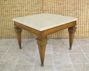 Regency End Table With Marble Top And Burlwood Veneer, Mid Century Side  Table, Small Square Coffee Table