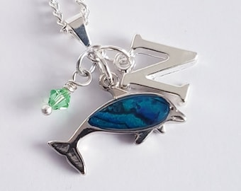 323f0408fefa Silver Dolphin Necklace in abalone shell