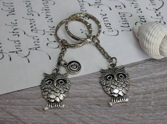 Porte-clés argenté avec breloque hibou, professeur personnalisé cadeau, oiseau, petit cadeau, courses inspiré de la Nature, porte-clé, porte-clés animaux
