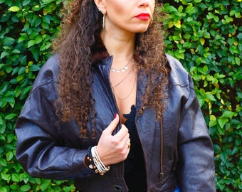 Dark Brown Leather Bomber with Detachable Faux Fur Collar