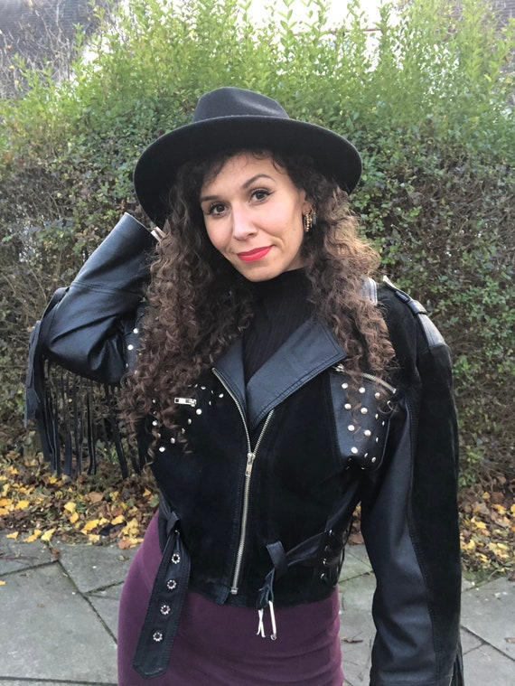 80s Fringed Leather and Suede Jacket