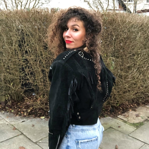 80s Fringed Cropped Suede Leather Jacket