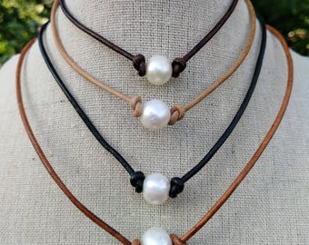 Pearl necklace - Pearl Choker Necklace - Freshwater Pearl Necklace - Leather and Pearl Necklace - Single Pearl Necklace - mothers day gift