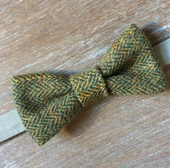 upcycled Gentlemen/'s bow tie tweed bow tie double-layered unique combination pre-tied adjustable band men/'s style tweed fashion