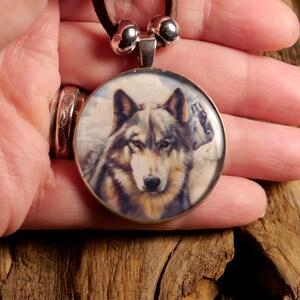 Wolf Totem Animal Wildlife Art Pendant Necklace Winter/'s Edge