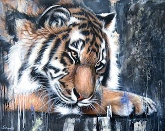 "24 x 32 Original Tiger Painting ""The Day Dream"" - Wildlife Art"