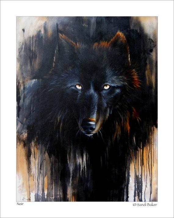 black wolf art print noir c sandi baker etsy black wolf art print noir c sandi baker