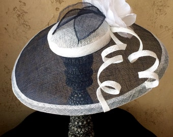 Large Navy Blue and White Percher Fascinator