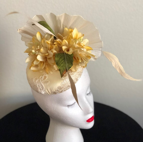 886cfc79125 Yellow Lace and Silk Abaca Wedding Hat Church Hat Kentucky