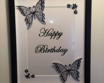 """Black & White Framed """"Happy Birthday"""""""