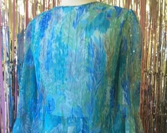 Long Blue 1970s Dress