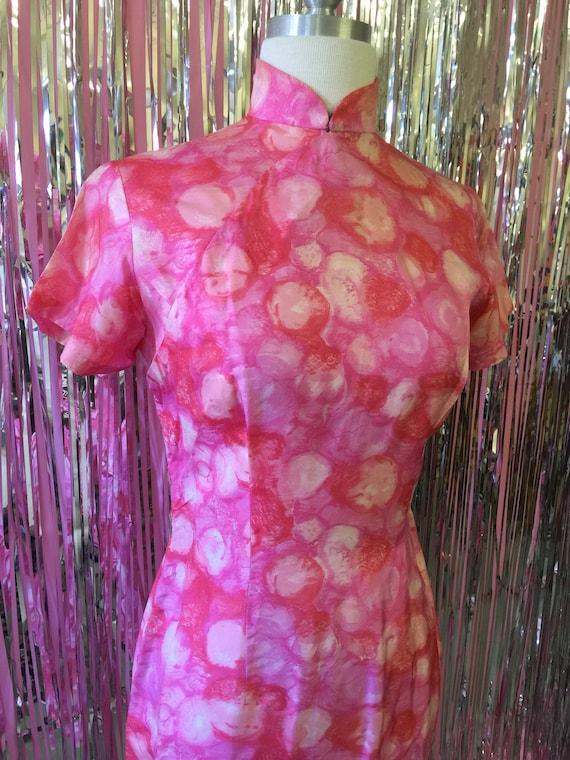 Pink High Neck Wiggle Dress