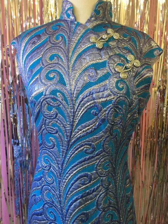 Psychadelic Blue Disco Wiggle Dress