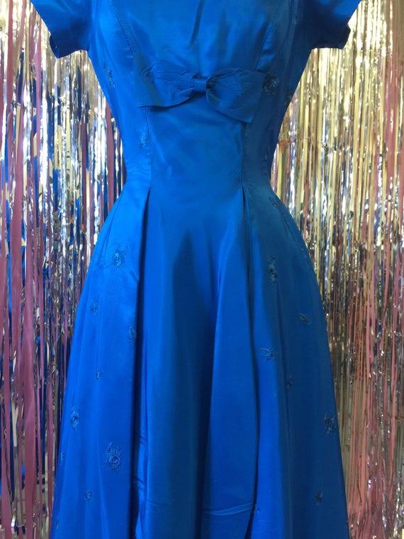 Royal Blue 1950's Bow Dress