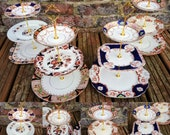 Job lot of 2 (6pcs) Vintage 3 Tier Cake Stands Imari Old Antique Peaky Blinders Mismatched China Tea Party Wedding Crockery Tray Plates