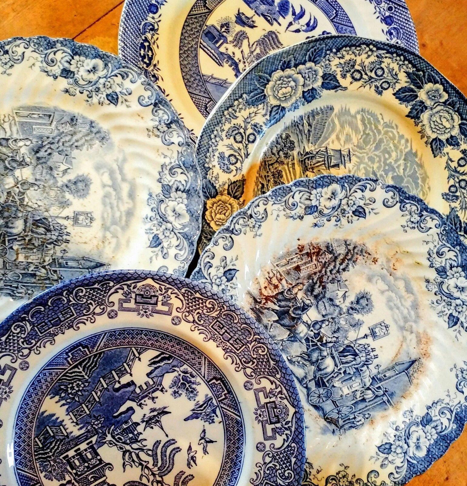 Job Lot Of 10 Vintage Mismatching Dinner Plates Tea Parties Weddings
