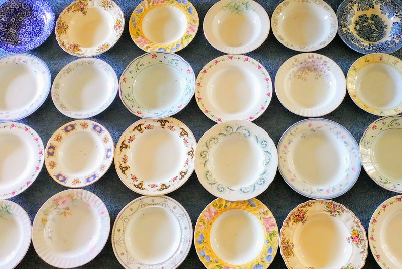 Job Lot of 5 Vintage Mismatched China Mix Pasta Plates Rimmed Rims Soup Bowls Set Perfect Tableware for a Mad Hatters Party Wedding