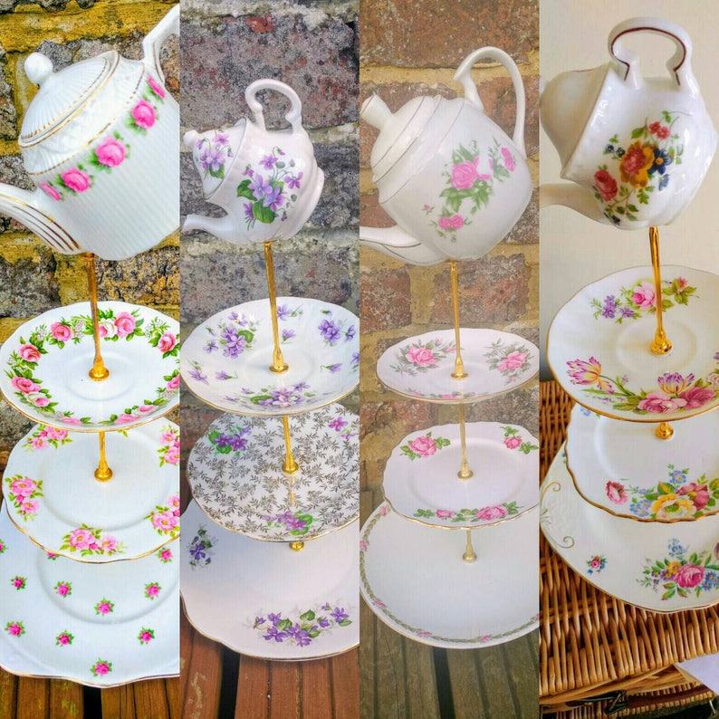 Vintage Mismatched China Mix 3 Tier Cake Stands Teapot Topper Tray Wedding Centrepiece Afternoon Tea Crockery Mad Hatters Party 2 8pc