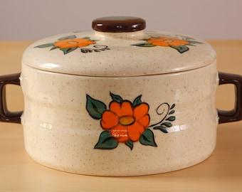 Vintage floral ceramic casserole dish / France