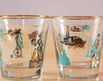 2 Vintage Dominion Turquoise and gold river boat southern drinking glasses