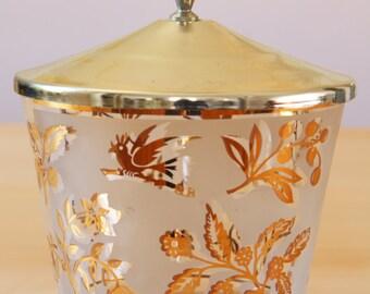 Vintage Mid-Century gold branch bird ice bucket with lid