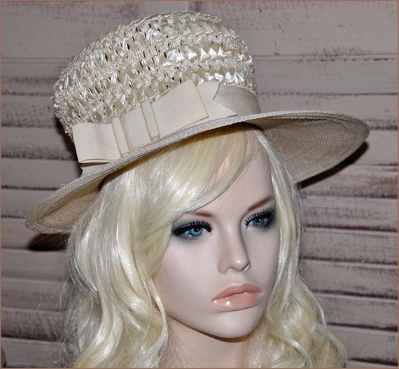 Ivory Straw Boaters Hat, Ivory Wide Brim Hat, Lad… - image 4