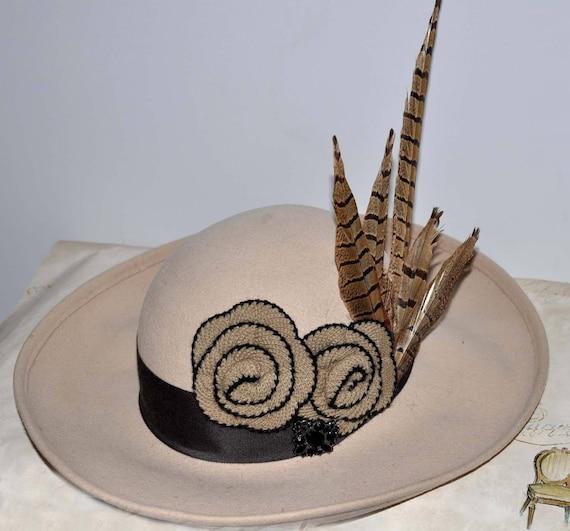 Beige Vintage Wide Brim Hat, Vintage Wide Brim Wo… - image 1